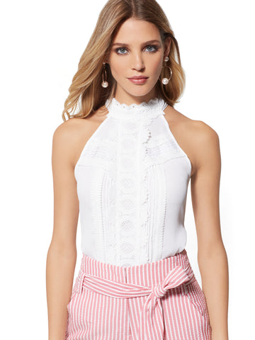 718d9c82661 New York   Company White Lace-Trim Halter Blouse in Paper White