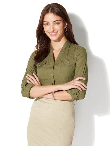 7th Avenue - Military Blouse in Olive