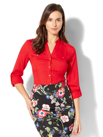 7th Avenue - Military Blouse in Big Apple Red