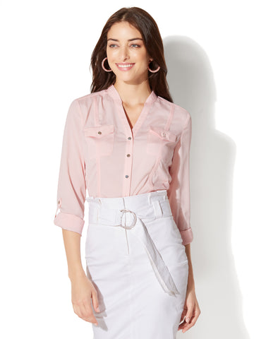 7th Avenue - Military Blouse in Cherry Blossom