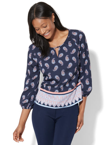 7th Avenue - Keyhole Peasant Blouse - Paisley Print in Grand Sapphire