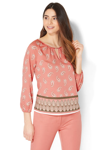 7th Avenue - Keyhole Peasant Blouse - Paisley Print in Reddening Mauve