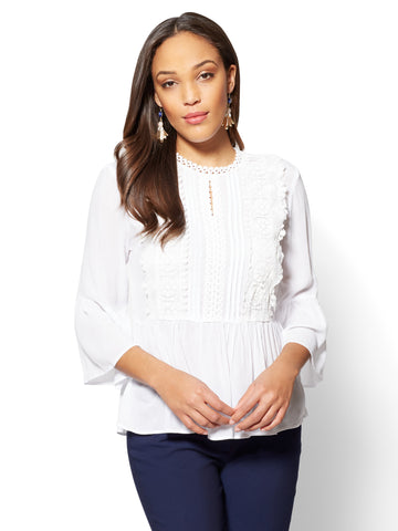 7th Avenue Appliqued Peplum Blouse - in Paper White