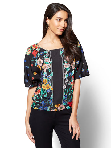 7th Avenue - Dolman Blouse - Floral Print in Black