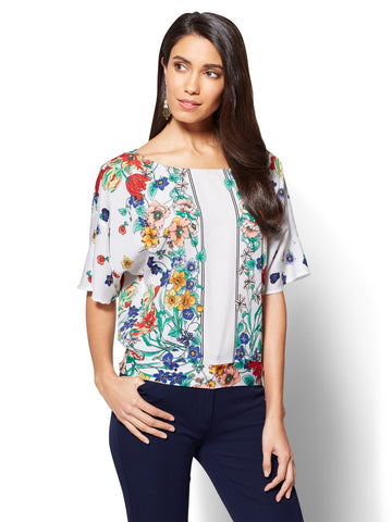 7th Avenue - Dolman Blouse - Floral Print in Paper White