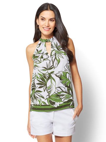 7th Avenue - Tie-Neck Halter Blouse in Union Square Green