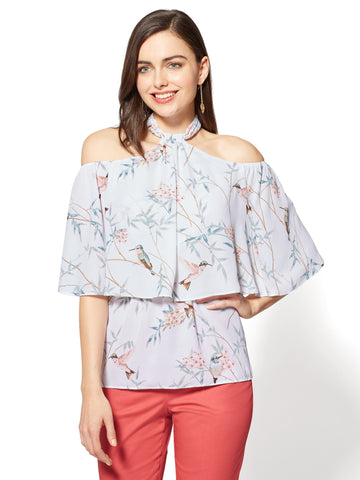 7th Avenue Halter Blouse - Bird Print in Paper White