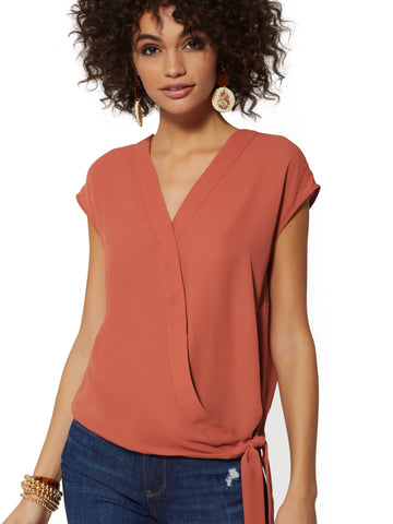 Tie-Front Wrap Blouse - Soho Soft Shirt in Bronze Beauty