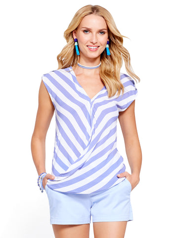 Soho Soft Shirt - Wrap Blouse in Stormy Blue
