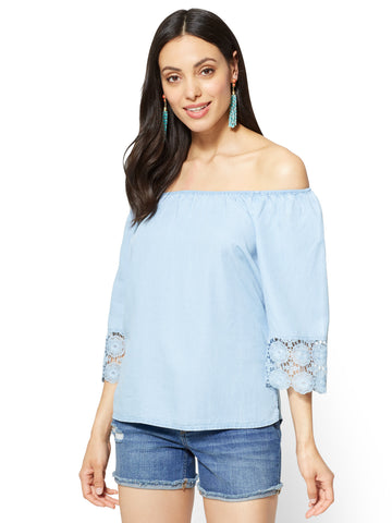 Soho Soft Shirt Off-The-Shoulder Blouse in Light Indigo