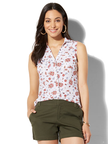 Soho Soft Shirt - Sleeveless - Floral & Paisley Print in Paper White