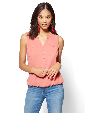 Soho Soft Shirt - Sleeveless Bubble-Hem Blouse in Pinkadelic