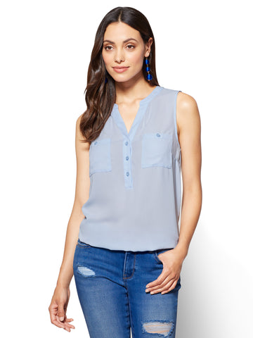 Soho Soft Shirt Sleeveless Bubble-Hem Blouse in Blue Glades