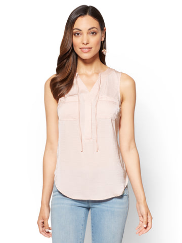 Soft Soft Shirt - Tie-Front Sleeveless Blouse in Pink Ambrosia