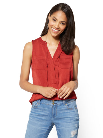 Soft Soft Shirt - Tie-Front Sleeveless Blouse in Spiced Curry