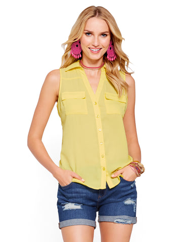 Soho Soft Shirt - Sleeveless in Springtime Yellow