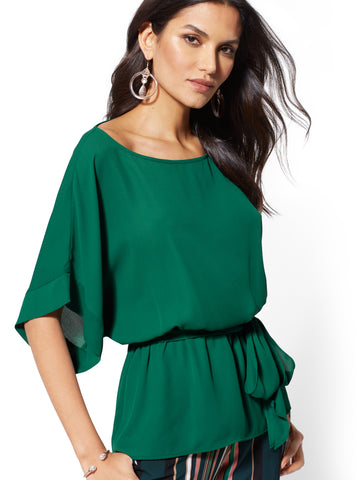 Belted Kimono Blouse in Parker Green