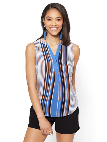 7th Avenue - Hi-Lo Split-Neck Blouse - Stripe in Pure Blue