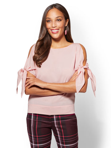 7th Avenue - Tie-Sleeve Cold-Shoulder Blouse  in Pink Shell