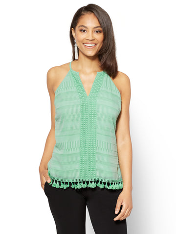 7th Avenue - Crochet-Trim & Tassel Accent Halter Blouse in Creamy Mint
