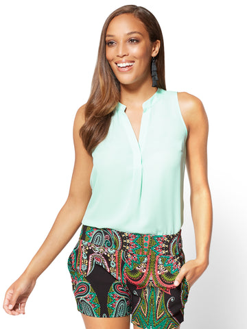 7th Avenue - Hi-Lo Split Neck Blouse in Crystal Aqua Green