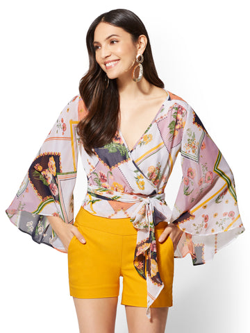 7th Avenue - Floral V-Neck Wrap Blouse in Gentle Mauve