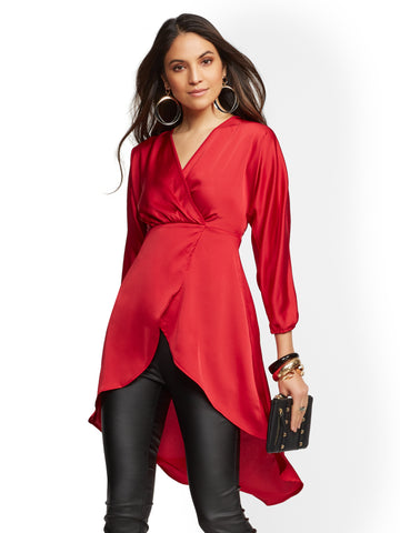 7th Avenue - Hi-Lo Maxi Blouse in Coco Red