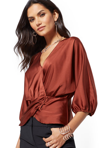 7th Avenue - Dolman Wrap Blouse in Turkish Rust