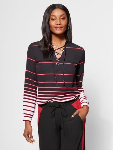 Striped Lace-Up Blouse in Black