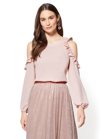 7th Avenue - Ruffled Cold-Shoulder Blouse in Pink Honeybunch