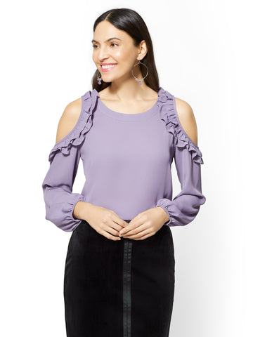 7th Avenue - Ruffled Cold-Shoulder Blouse in Purple Vine