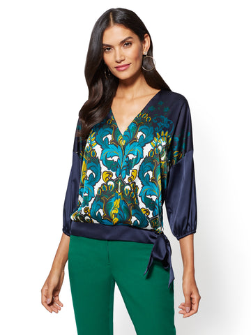 7th Avenue - Side-Tie Wrap Blouse - Print in Grand Sapphire