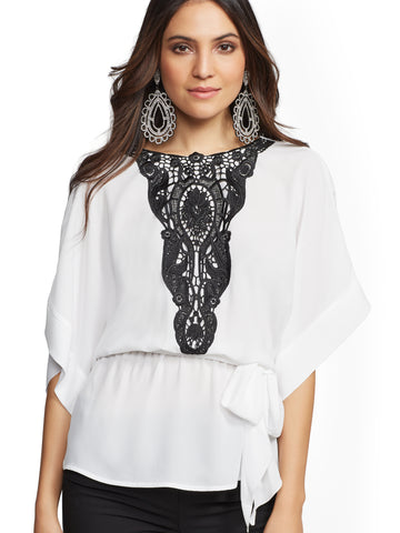 7th Avenue - Lace-Trim Kimono Peplum Top in Paper White