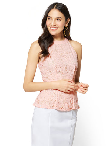 7th Avenue - Lace Peplum Halter Top in Powdered Blush