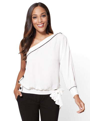 7th Avenue - Piped One-Shoulder Blouse in Paper White