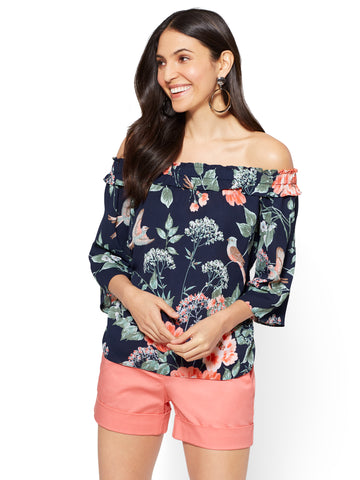 Off-The-Shoulder Blouse - Bird & Floral Print in Grand Sapphire