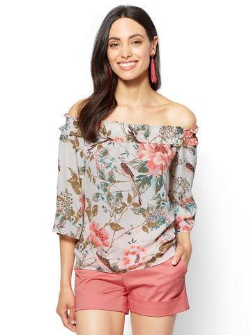 Off-The-Shoulder Blouse - Bird & Floral Print in Charming Pearl