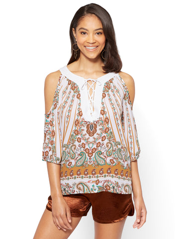 Lace-Up Cold Shoulder Blouse - Paisley in Paper White