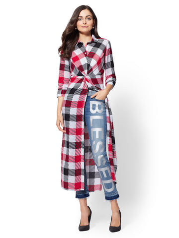 7th Avenue - Plaid Twist-Front Tunic Shirt in Paper White
