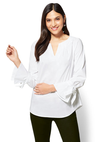 Tie-Cuff Pleated Popover Shirt in Optic White