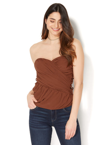 Lace-Up Strapless Top in Redwood
