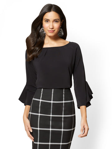 7th Avenue - Pleated Bell-Sleeve Top in Black