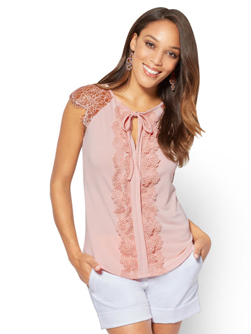 7th Avenue - Lace-Accent Keyhole Top in Pink Ambrosia