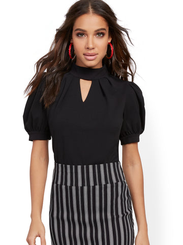 Puff-Sleeve Mock-Neck Top - 7th Avenue in Black