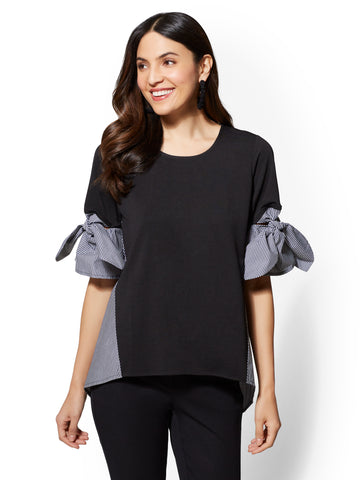 7th Avenue - Black Bow-Detail Twofer Top in Black