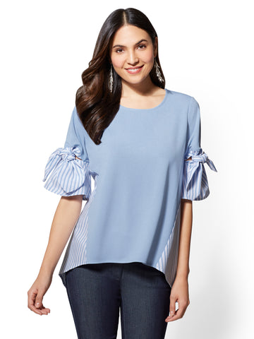 7th Avenue - Blue Bow-Detail Twofer Top in Bluebell