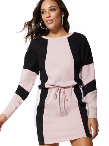 a558b610fe4 New York   Company Soho Street - Colorblock Sweatshirt Dress in Lilac  Chiffon