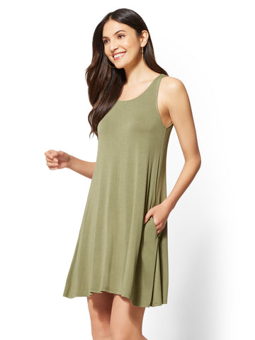 Soho Street - Scoopneck Swing Dress in Olive Pistachio