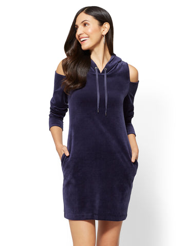 Hooded Cold-Shoulder Velour Shift Dress in Grand Sapphire