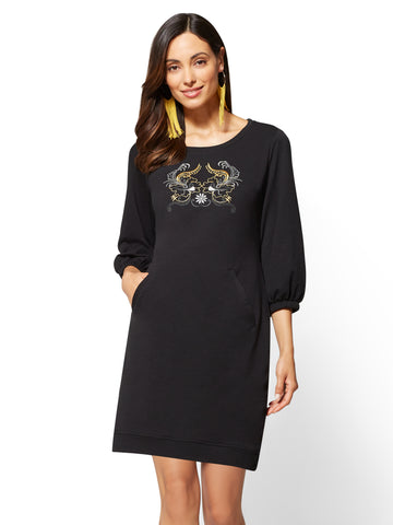 Soho Street - Embroidered Sweatshirt Dress in Black